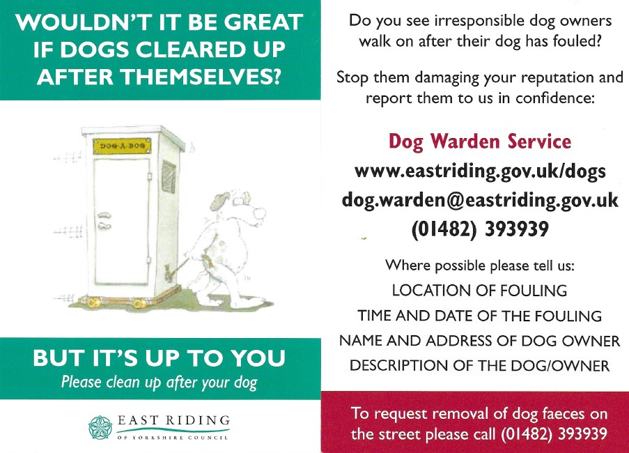 Image of leaflet from ERYC regarding how to report dog fouling